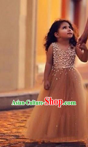 Top Grade Compere Professional Performance Catwalks Costume, Children Chorus Veil Full Dress Modern Dance Baby Princess Modern Fancywork Long Dress for Girls Kids