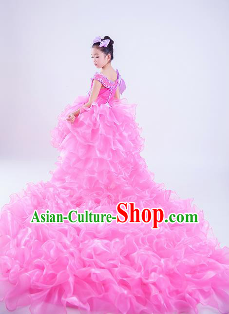 Top Grade Compere Professional Performance Catwalks Costume, Children Chorus Pink Veil Wedding Bubble Trailing Full Dress Modern Dance Baby Princess Modern Fancywork Short Ball Gown Dress for Girls Kids