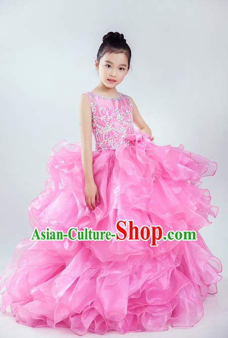 Top Grade Compere Professional Performance Catwalks Costume, Children Chorus Pink Wedding Bubble Veil Fishtail Full Dress Modern Dance Baby Princess Modern Fancywork Long Dress for Girls Kids