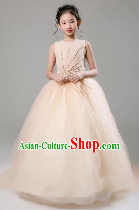 Top Grade Professional Compere Performance Catwalks Costume, Children Chorus Wedding Veil Full Dress Modern Dance Baby Princess Modern Fancywork Ball Gown Dress for Girls Kids