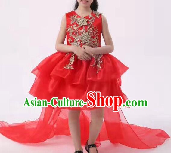 Top Grade Professional Performance Catwalks Compere Costume, Children Chorus Baby Princess Wedding Red Veil Full Dress Modern Dance Modern Fancywork Trailing Dress for Girls Kids