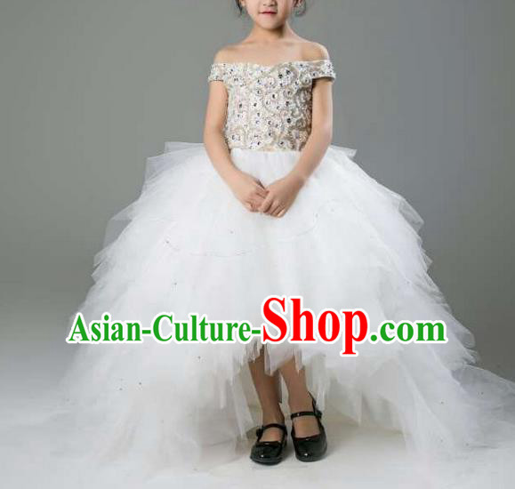 Top Grade Professional Performance Catwalks Compere Led Lights Costume, Children Chorus Baby Princess Flat Shouders Wedding Veil Full Dress Modern Dance Modern Fancywork Trailing Dress for Girls Kids