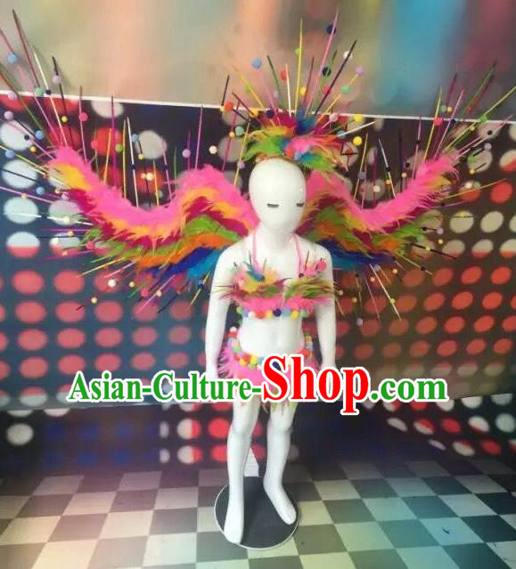 Top Grade Compere Professional Performance Catwalks Swimsuit Bikini Costume, Children Chorus Customize with Peacock Feather Wings Full Dress Modern Dance Baby Princess Modern Fancywork Clothing Complete Set for Girls Kids