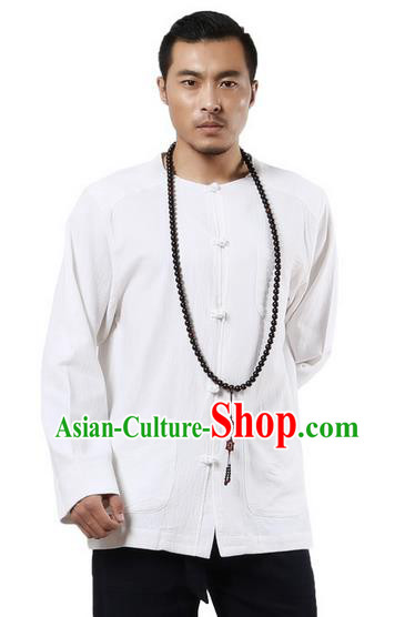 Traditional Chinese Kung Fu Costume Martial Arts Ramie Long Sleeve Shirts Pulian Clothing, China Tang Suit Tai Chi Meditation White Overshirts for Men