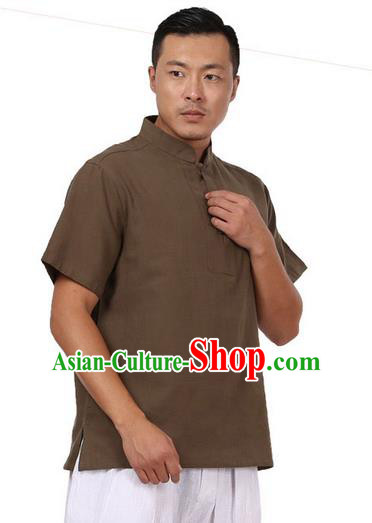Traditional Chinese Kung Fu Costume Martial Arts Linen Plated Buttons Army Green Shirts Pulian Meditation Clothing, China Tang Suit Upper Outer Garment for Men