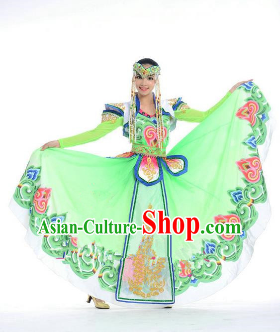 Traditional Chinese Mongol Nationality Dance Costume, Mongols Princess Folk Dance Ethnic Pleated Skirt, Chinese Mongolian Minority Nationality Green Dress Clothing for Women