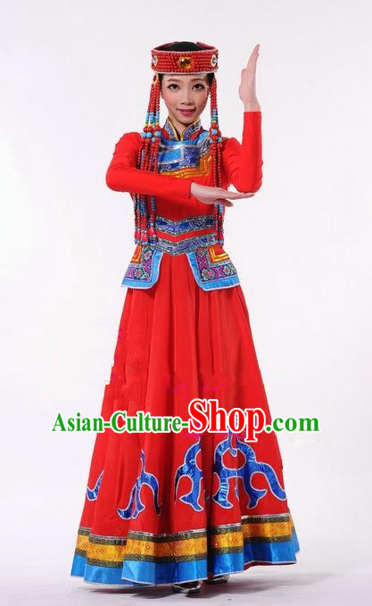 Traditional Chinese Mongol Nationality Dance Costume, Mongols Female Folk Dance Ethnic Pleated Skirt, Chinese Mongolian Minority Nationality Red Dress Clothing for Women