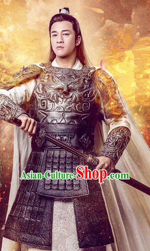 1d6d73f90 Traditional Chinese Song Dynasty General Costume and Handmade Headpiece  Complete Set, China Ancient Warrior Armor Clothing for Men