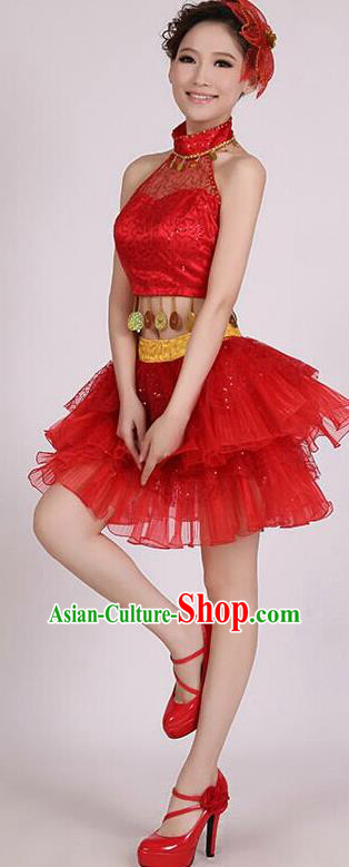 Traditional Chinese Modern Dance Costume, Women Opening Dance Chorus Group Uniforms Short Paillette Red Bubble Dress for Women