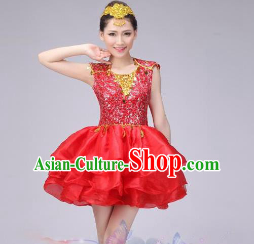 Traditional Chinese Modern Dance Costume, China Style Women Opening Dance Chorus Group Uniforms Red Paillette Short Bubble Dress for Women