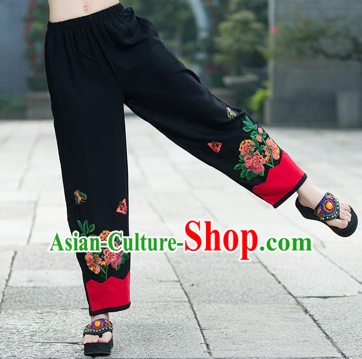 Traditional Chinese National Costume Plus Fours, Elegant Hanfu Embroidered Black Linen Bloomers, China Ethnic Minorities Tang Suit Pantalettes for Women