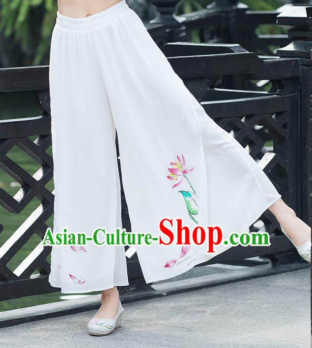 Traditional Chinese National Costume Loose Pants, Elegant Hanfu Hand Painting Lotus Chiffon White Wide leg Pants, China Ethnic Minorities Tang Suit Ultra-wide-leg Trousers for Women