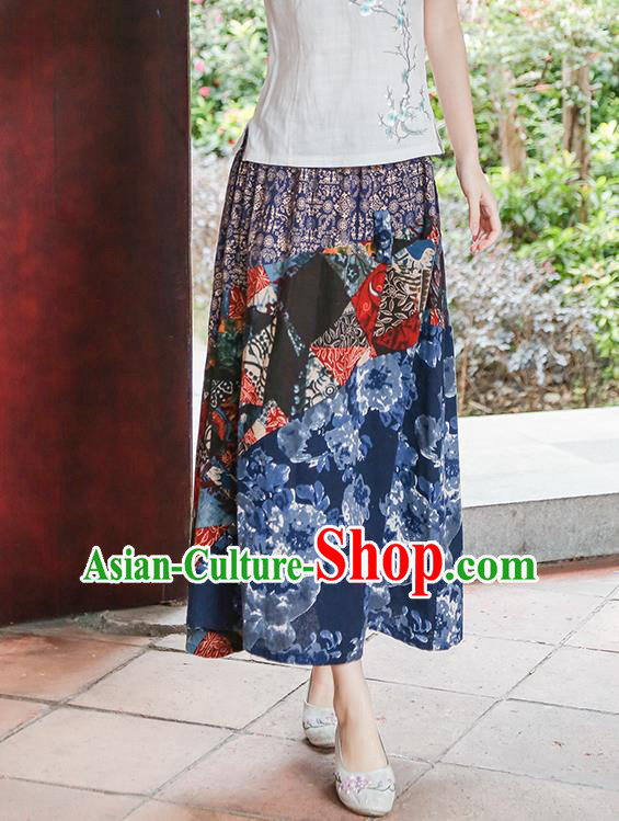 Traditional Ancient Chinese National Pleated Skirt Costume, Elegant Hanfu Long Skirt, China Ethnic Minorities Tang Suit Bust Skirt for Women