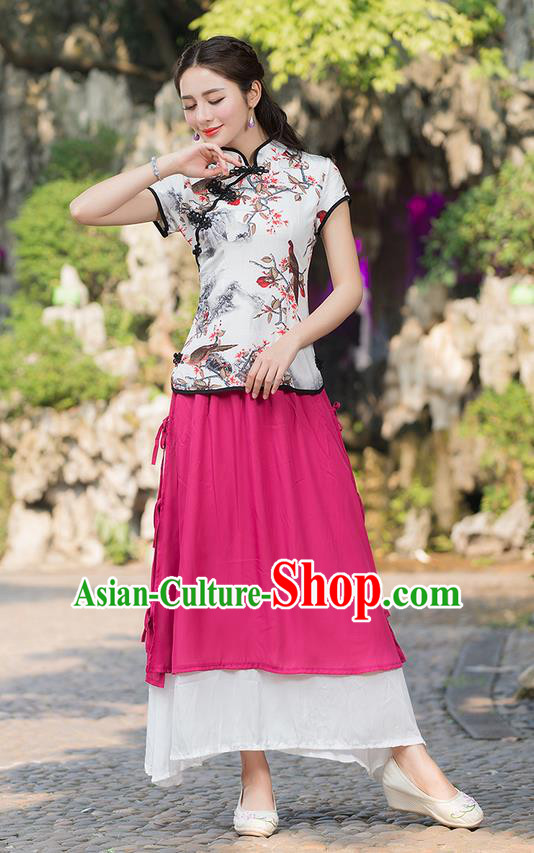 Traditional Ancient Chinese National Pleated Skirt Costume, Elegant Hanfu Chiffon Pink Long Dress, China Tang Suit National Minority Bust Skirt for Women