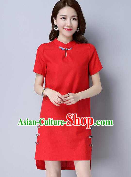 Traditional Ancient Chinese National Costume, Elegant Hanfu Mandarin Qipao Linen Red Dress, China Tang Suit Plated Buttons Chirpaur Republic of China Cheongsam Upper Outer Garment Elegant Dress Clothing for Women