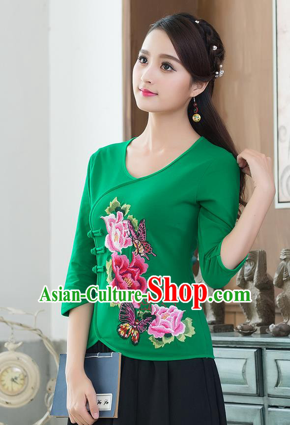 Traditional Chinese National Costume, Elegant Hanfu Embroidery Flowers Slant Opening Green Blouses, China Tang Suit Republic of China Plated Buttons Chirpaur Blouse Cheong-sam Upper Outer Garment Qipao Shirts Clothing for Women