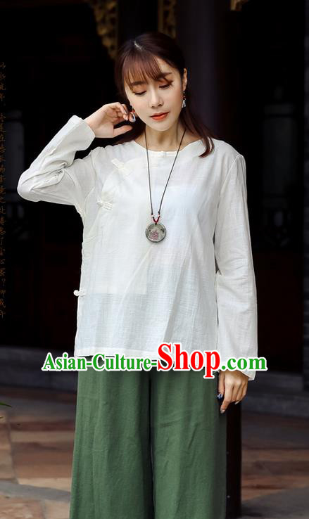 Traditional Chinese National Costume, Elegant Hanfu Linen Slant Opening White Shirt, China Tang Suit Republic of China Plated Buttons Chirpaur Blouse Cheong-sam Upper Outer Garment Qipao Shirts Clothing for Women