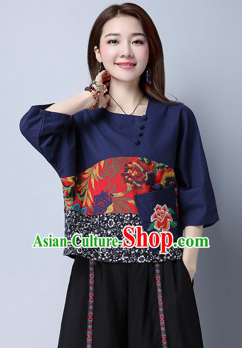 Traditional Chinese National Costume, Elegant Hanfu Patch Embroidery Flowers Navy Blouse, China Tang Suit Republic of China Plated Buttons Chirpaur Blouse Cheong-sam Upper Outer Garment Qipao Shirts Clothing for Women