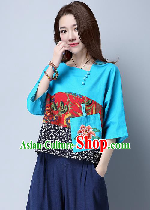 Traditional Chinese National Costume, Elegant Hanfu Patch Embroidery Flowers Blue Blouse, China Tang Suit Republic of China Plated Buttons Chirpaur Blouse Cheong-sam Upper Outer Garment Qipao Shirts Clothing for Women