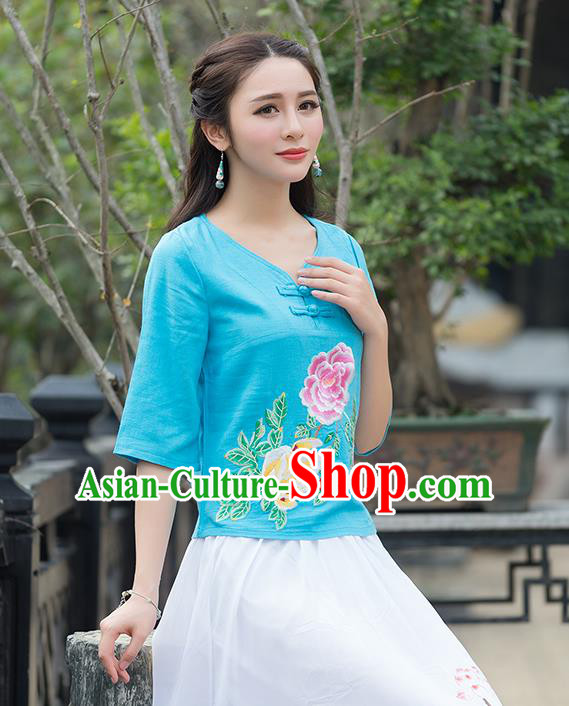 Traditional Chinese National Costume, Elegant Hanfu Embroidery Flowers Blue T-Shirt, China Tang Suit Republic of China Plated Buttons Chirpaur Blouse Cheong-sam Upper Outer Garment Qipao Shirts Clothing for Women