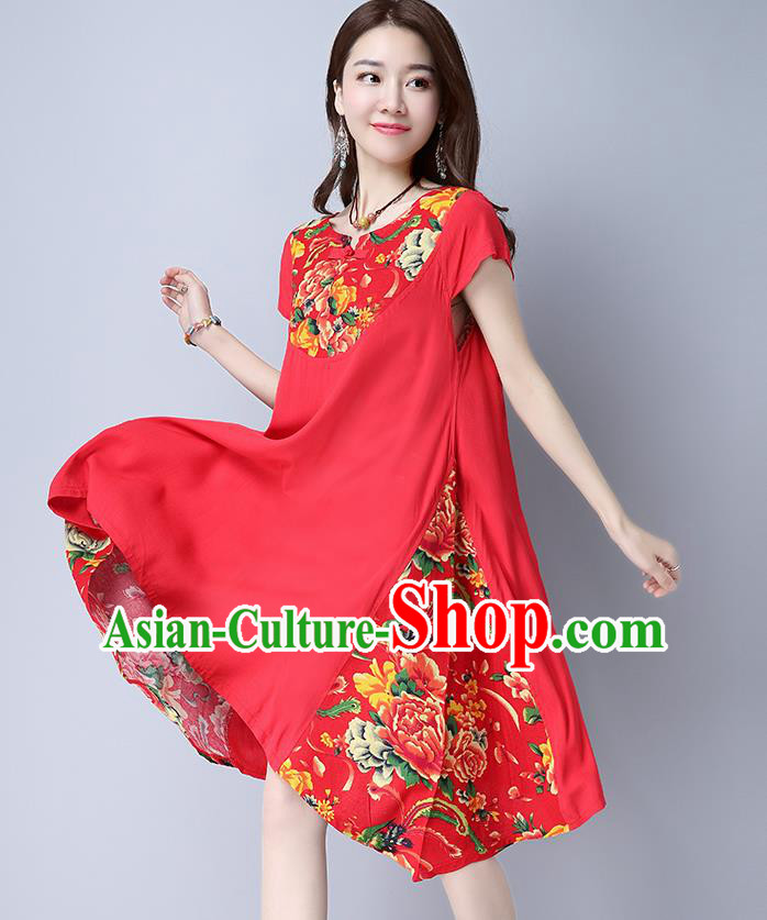 Traditional Ancient Chinese National Costume, Elegant Hanfu Mandarin Qipao Linen Peony Flowers Red Dress, China Tang Suit Chirpaur Republic of China Cheongsam Upper Outer Garment Elegant Dress Clothing for Women