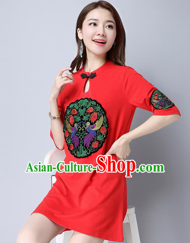Traditional Ancient Chinese National Costume, Elegant Hanfu Mandarin Qipao Patch Embroidery Red Dress, China Tang Suit Plated Button Chirpaur Republic of China Cheongsam Upper Outer Garment Elegant Dress Clothing for Women