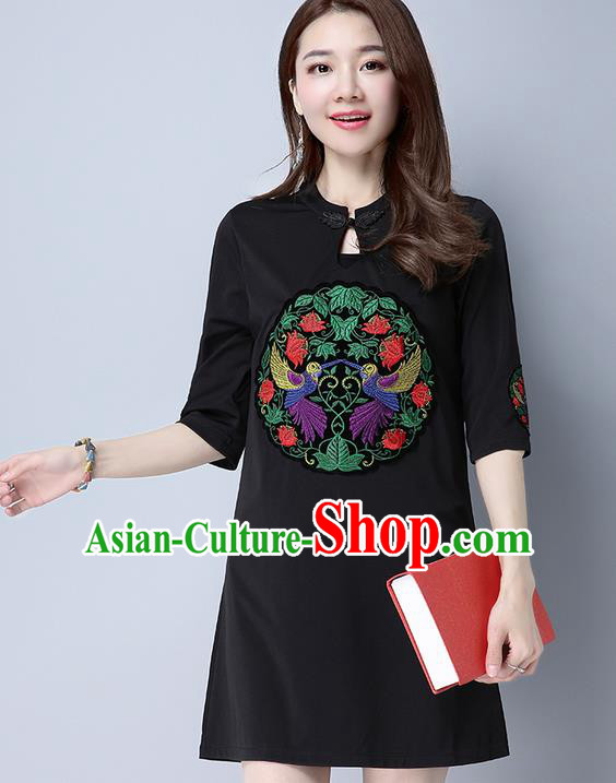 Traditional Ancient Chinese National Costume, Elegant Hanfu Mandarin Qipao Patch Embroidery Black Dress, China Tang Suit Plated Button Chirpaur Republic of China Cheongsam Upper Outer Garment Elegant Dress Clothing for Women