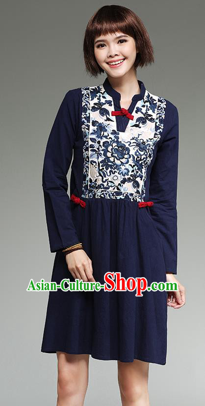 Traditional Ancient Chinese National Costume, Elegant Hanfu Mandarin Qipao Patch Embroidery Linen Navy Dress, China Tang Suit Chirpaur Republic of China Cheongsam Upper Outer Garment Elegant Dress Clothing for Women