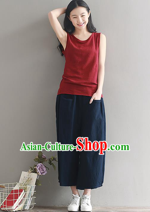 Traditional Chinese National Costume Loose Pants, Elegant Hanfu Linen Navy Wide leg Pants, China Ethnic Minorities Tang Suit Ultra-wide-leg Trousers for Women