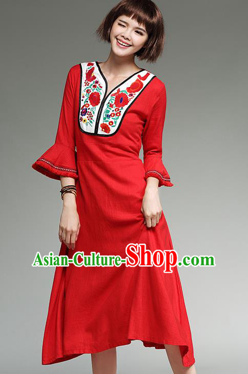 Traditional Ancient Chinese National Costume, Elegant Hanfu Mandarin Qipao Embroidery Red Dress, China Tang Suit Mandarin Sleeve Chirpaur Republic of China Cheongsam Upper Outer Garment Elegant Dress Clothing for Women