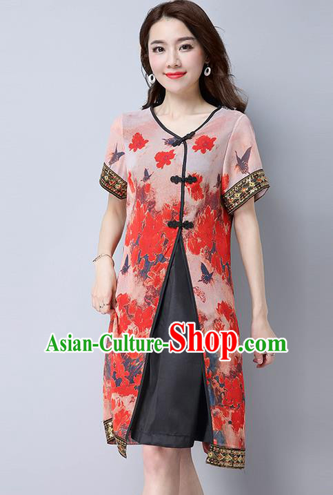 Traditional Ancient Chinese National Costume, Elegant Hanfu Mandarin Qipao Linen Painting Red Dress, China Tang Suit Chirpaur Republic of China Cheongsam Upper Outer Garment Elegant Dress Clothing for Women