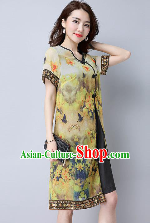 Traditional Ancient Chinese National Costume, Elegant Hanfu Mandarin Qipao Linen Painting Green Dress, China Tang Suit Chirpaur Republic of China Cheongsam Upper Outer Garment Elegant Dress Clothing for Women