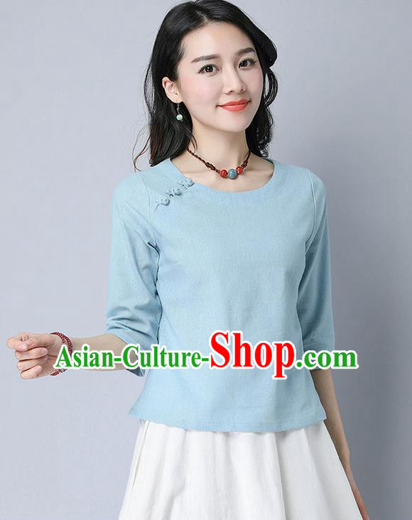 Traditional Chinese National Costume, Elegant Hanfu Linen Slant Opening Blue T-Shirt, China Tang Suit Republic of China Plated Buttons Chirpaur Blouse Cheong-sam Upper Outer Garment Qipao Shirts Clothing for Women