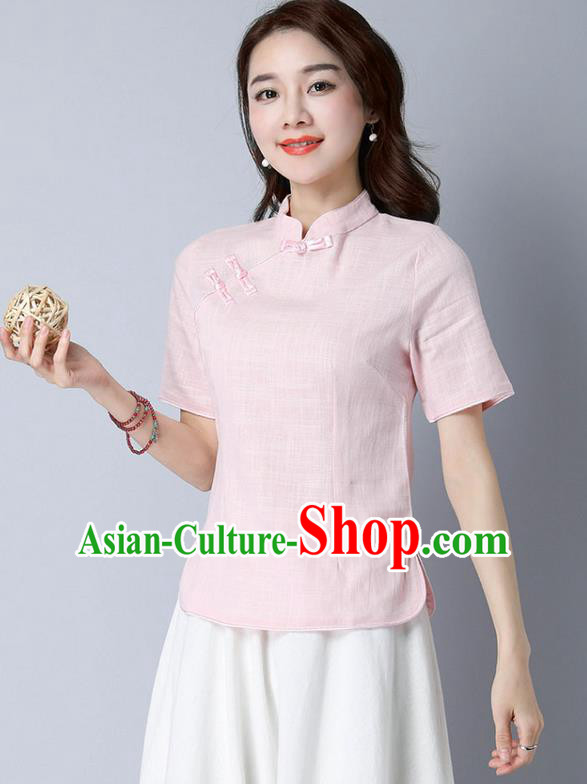 Traditional Chinese National Costume, Elegant Hanfu Stand Collar Pink T-Shirt, China Tang Suit Republic of China Plated Buttons Chirpaur Blouse Cheong-sam Upper Outer Garment Qipao Shirts Clothing for Women