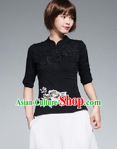 Traditional Chinese National Costume, Elegant Hanfu Stand Collar Black T-Shirt, China Tang Suit Plated Buttons Chirpaur Blouse Cheong-sam Upper Outer Garment Qipao Shirts Clothing for Women