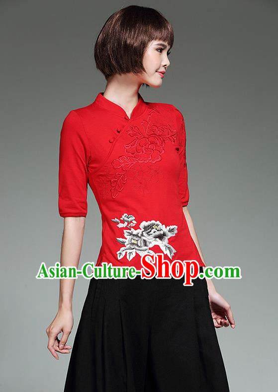 Traditional Chinese National Costume, Elegant Hanfu Stand Collar Red T-Shirt, China Tang Suit Plated Buttons Chirpaur Blouse Cheong-sam Upper Outer Garment Qipao Shirts Clothing for Women
