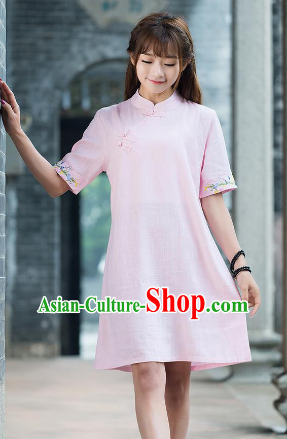 Traditional Ancient Chinese National Costume, Elegant Hanfu Mandarin Qipao Embroidery Sleeve Linen Pink Dress, China Tang Suit Chirpaur Republic of China Cheongsam Upper Outer Garment Elegant Dress Clothing for Women