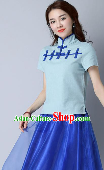 Traditional Chinese National Costume, Elegant Hanfu Stand Collar Blue T-Shirt, China Tang Suit Republic of China Plated Buttons Chirpaur Blouse Cheong-sam Upper Outer Garment Qipao Shirts Clothing for Women