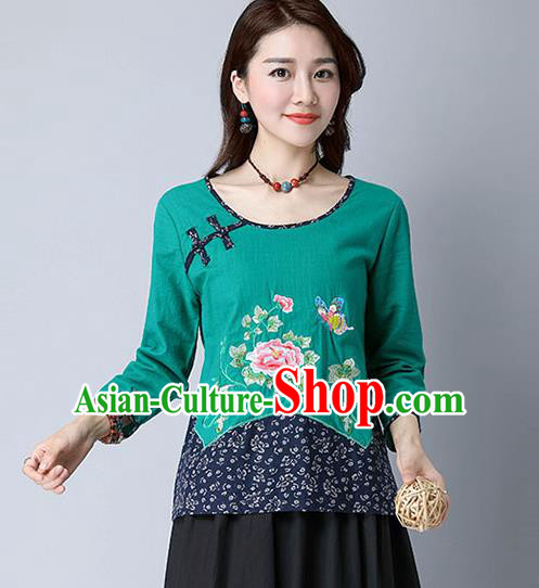 Traditional Chinese National Costume, Elegant Hanfu Embroidery Peony Flowers Green T-Shirt, China Tang Suit Republic of China Plated Button Chirpaur Blouse Cheong-sam Upper Outer Garment Qipao Shirts Clothing for Women