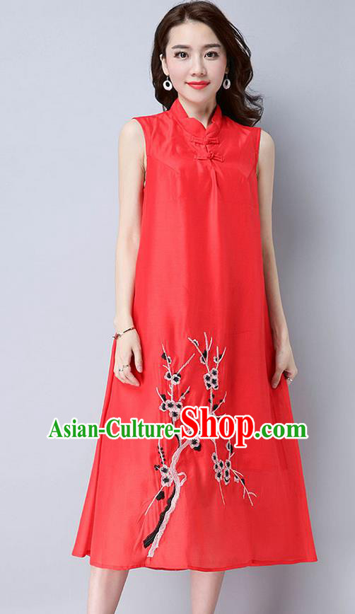 Traditional Ancient Chinese National Costume, Elegant Hanfu Mandarin Qipao Linen Embroidery Plum Blossom Red Dress, China Tang Suit Chirpaur Republic of China Cheongsam Upper Outer Garment Elegant Dress Clothing for Women