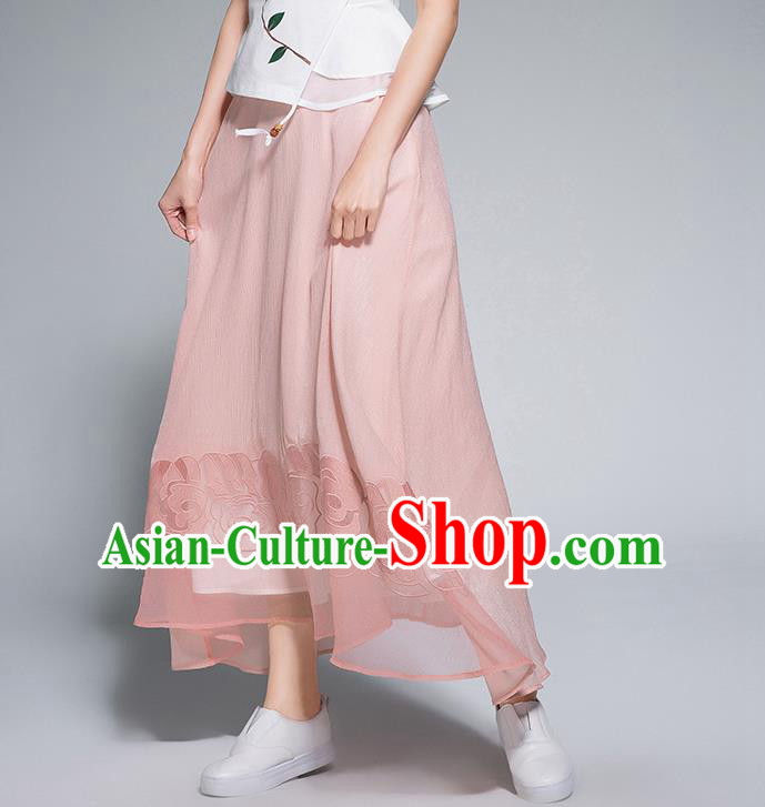 Traditional Ancient Chinese National Pleated Skirt Costume, Elegant Hanfu Chiffon Embroidery Long Pink Dress, China Tang Suit Big Swing Bust Skirt for Women