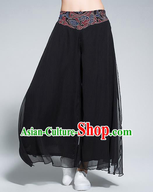 Traditional Chinese National Costume Loose Pants, Elegant Hanfu Embroidered Waistband Chiffon Black Wide leg Pants, China Ethnic Minorities Tang Suit Folk Dance Ultra-wide-leg Trousers for Women