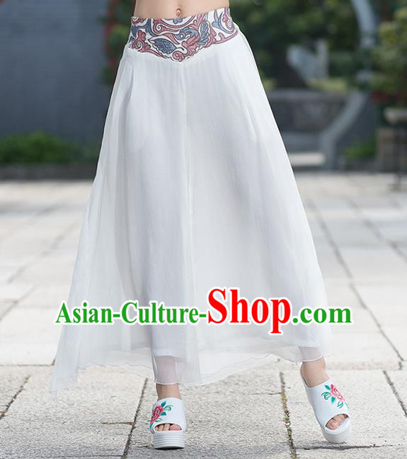 Traditional Chinese National Costume Loose Pants, Elegant Hanfu Embroidered Waistband Chiffon White Wide leg Pants, China Ethnic Minorities Tang Suit Folk Dance Ultra-wide-leg Trousers for Women