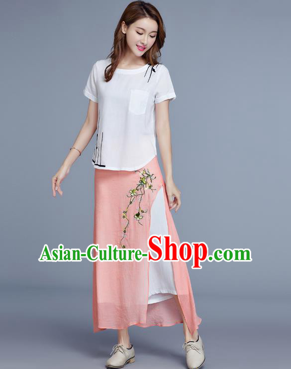 Traditional Chinese National Costume Loose Pants, Elegant Hanfu Embroidered Chiffon Pink Wide leg Pants, China Ethnic Minorities Tang Suit Ultra-wide-leg Trousers for Women