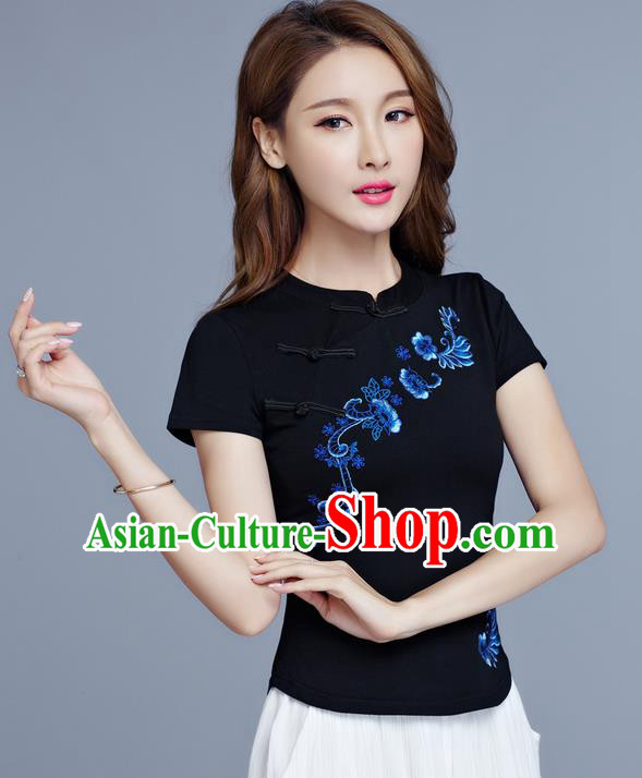 Traditional Chinese National Costume, Elegant Hanfu Embroidery Flowers Slant Opening Black T-Shirt, China Tang Suit Stand Collar Plated Buttons Chirpaur Blouse Cheong-sam Upper Outer Garment Qipao Shirts Clothing for Women