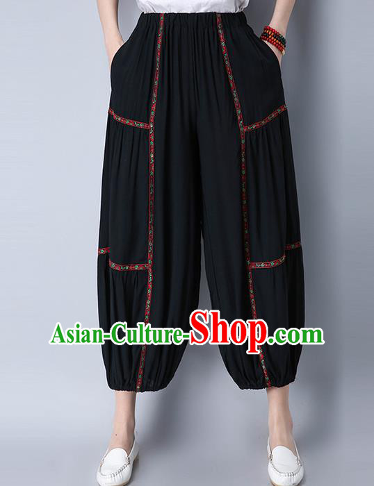 Traditional Chinese National Costume Plus Fours, Elegant Hanfu Embroidered Black Bloomers, China Ethnic Minorities Folk Dance Tang Suit Pantalettes for Women