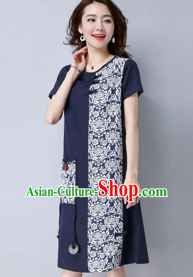 Traditional Ancient Chinese National Costume, Elegant Hanfu Mandarin Qipao Patch Printing Navy Dress, China Tang Suit Plated Buttons Chirpaur Elegant Dress Clothing for Women
