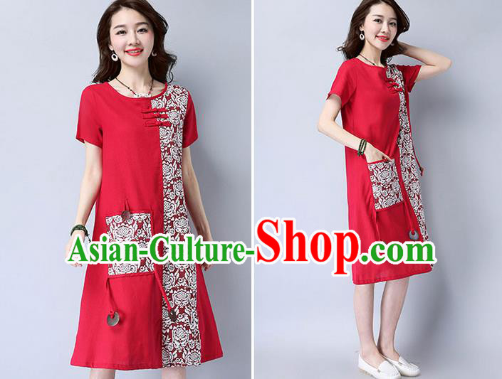 Traditional Ancient Chinese National Costume, Elegant Hanfu Mandarin Qipao Patch Printing Red Dress, China Tang Suit Plated Buttons Chirpaur Elegant Dress Clothing for Women