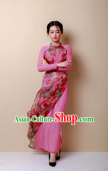 Traditional Top Grade Asian Vietnamese Dress, Vietnam National Female Handmade Ao Dai Dress Women Bride Pink Dress Ao Dai Cheongsam Clothing