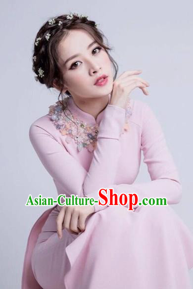 Traditional Top Grade Asian Vietnamese Dress, Vietnam National Female Handmade Ao Dai Dress Women Pink Full Dress Ao Dai Cheongsam Clothing